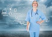 Stock Illustration of Composite image of young female doctor holding a notebook and laughing into the