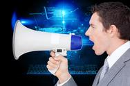 Stock Illustration of Composite image of businessman using a megaphone