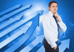 Stock Illustration of Composite image of thinking businessman touching his chin