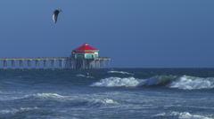 Wind Surfer with Pier in Background Stock Footage