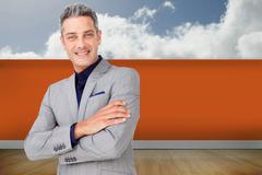 Composite image of smiling confident businessman Stock Illustration