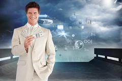 Composite image of positive businessman looking at the camera - stock illustration