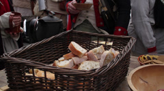 Continental Army feast (Revolutionary War) Stock Footage