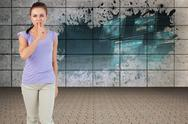 Stock Illustration of Composite image of young female asking for silence