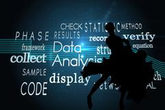 Composite image of computing buzzwords on black background Stock Illustration