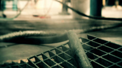 Steam coming from a science fiction looking grate Stock Footage