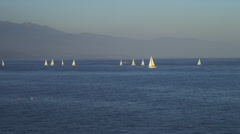 Sailboats on Pacific Ocean Stock Footage