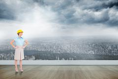Stock Illustration of Composite image of serious attractive architect posing