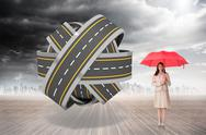 Stock Illustration of Composite image of attractive businesswoman holding red umbrella