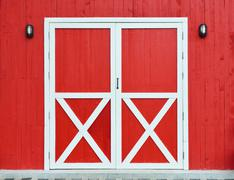 Door and wall wooden red background Stock Photos