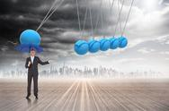 Composite image of peaceful businessman holding blue umbrella Stock Illustration