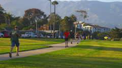 Stock Video Footage of Jogging in Late Afternoon in Santa Barbara, CA