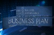 Stock Illustration of Composite image of business plan on abstract screen