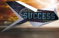 Stock Illustration of Composite image of success plan on abstract screen