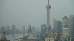 The futuristic Shanghai Pudong skyline - stock footage