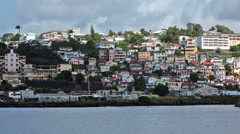 Stock Video Footage of Fort De France city homes Martinique coast HD 1388