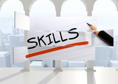Stock Illustration of Composite image of skills in handwriting on abstract screen
