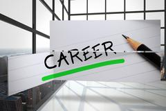 Stock Illustration of Composite image of career in handwriting on abstract screen