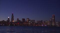 CHI skyline night sky - stock footage