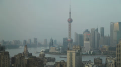 The amazing Shanghai skyline and Huangpu River in China Stock Footage