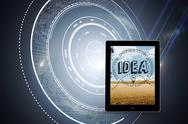 Stock Illustration of Composite image of idea graphic on tablet screen