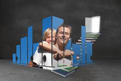 Stock Illustration of Composite image of father and son on abstract screen