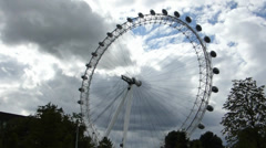 Capturing full view of London Eye wheel from a distance,UK. (LONDON EYE 14) Stock Footage
