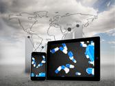 Stock Illustration of Composite image of falling pills on tablet and smartphone screens