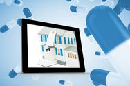 Stock Illustration of Composite image of house with price tag on tablet screen