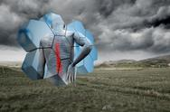 Composite image of back injury diagram on abstract screen Stock Illustration