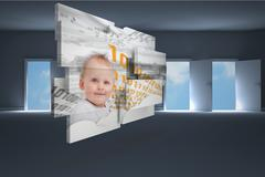 Stock Illustration of Composite image of genius baby on abstract screen