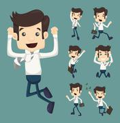 Stock Illustration of set of businessman leaping characters poses