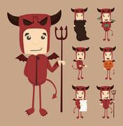 set of devil characters poses - stock illustration