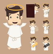 set of angel characters poses - stock illustration