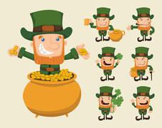 Stock Illustration of set of leprechaun characters poses