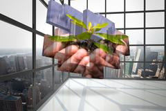 Composite image of hands holding shrub on abstract screen Stock Illustration