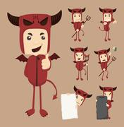 Stock Illustration of set of devil characters poses