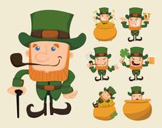 Set of leprechaun characters poses Stock Illustration
