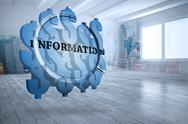 Stock Illustration of Composite image of information text on abstract screen