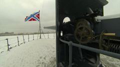 Cannon, naval guns of the cruiser Aurora Stock Footage
