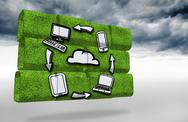 Stock Illustration of Composite image of cloud computing cycle on abstract screen