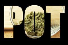 Marijuana, medical and recreational marijuana industry in america Stock Illustration