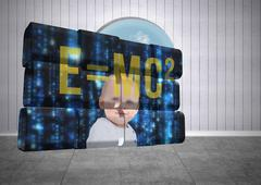 Stock Illustration of Composite image of baby genius on abstract screen