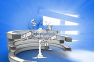 Stock Illustration of Composite image of money tree in a curved structure