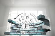 Stock Illustration of Composite image of media brainstorm in a curved structure