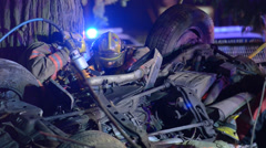 Firefighters Working To Extract A Patient From A Vehicle After A Crash - stock footage