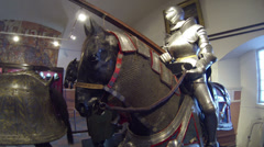 A knight in armor on horseback Stock Footage