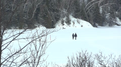 Couple Walking Frozen Lake During Winter - stock footage