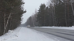 Winter Road Traffic 02 - stock footage