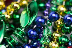 Colorful mardi gras background of beads Stock Photos